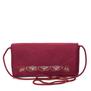 """Bag clutch """"Lily"""" Burgundy with gold embroidery"""