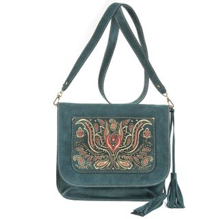 "Suede bag ""Irida"" green with gold embroidery"