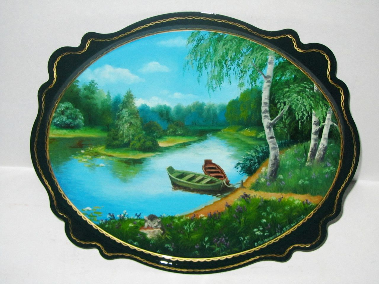 """Souvenirs from N. Tagil / Tray """"Subject painting. Summer on the river"""", 30x25 cm"""