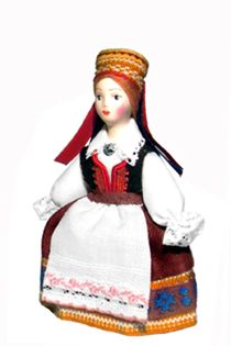 Doll gift. Estonian costume of a married woman. The middle of the 19th century. Region: Caaremaa.