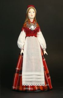 Doll gift. Estonian women's costume mid-19th century, the Village of Lihula, Western Estonia.