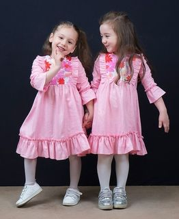 Dress girls pink with floral print