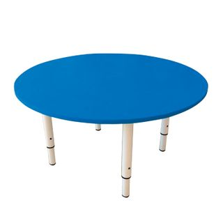 Children's round table 800 x800 x400-580 mm, adjustable, height 0-3 (85-145 cm), blue plastic, ivory