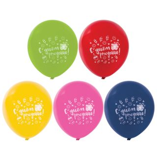 """GOLDEN FAIRY TALE / Balloons 12 """"(30 cm), SET of 5 pieces, assorted 5 colors, with a picture"""" Happy Birthday """", package"""