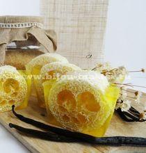 Handmade honey soap with natural loofah