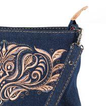 Bag denim Indigo brown silk embroidery