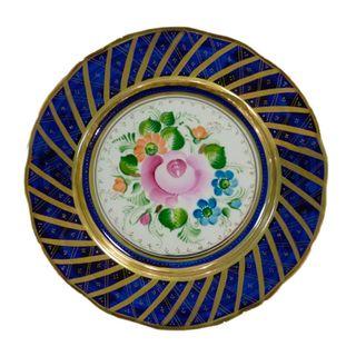 Dessert plate overglaze painting, Gzhel Porcelain factory