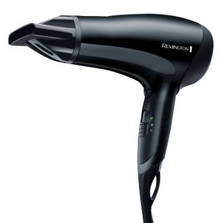 The REMINGTON D3010 hair dryer, 2000 watts, 2 speed, 3 heat settings, cool blow-off, eco mode, black