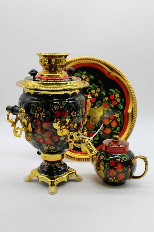 "Dulevo porcelain / Electric samovar 3 l. ""Khokhloma"" in the set"