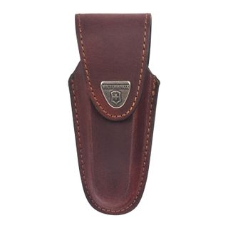 VICTORINOX / Gift case for knives leather brown, fixing blade, thickness 4-6 levels, velcro