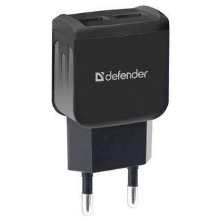 DEFENDER / Charger mains (220 V) UPA-22, 2 USB ports, output current 2.1 A, black