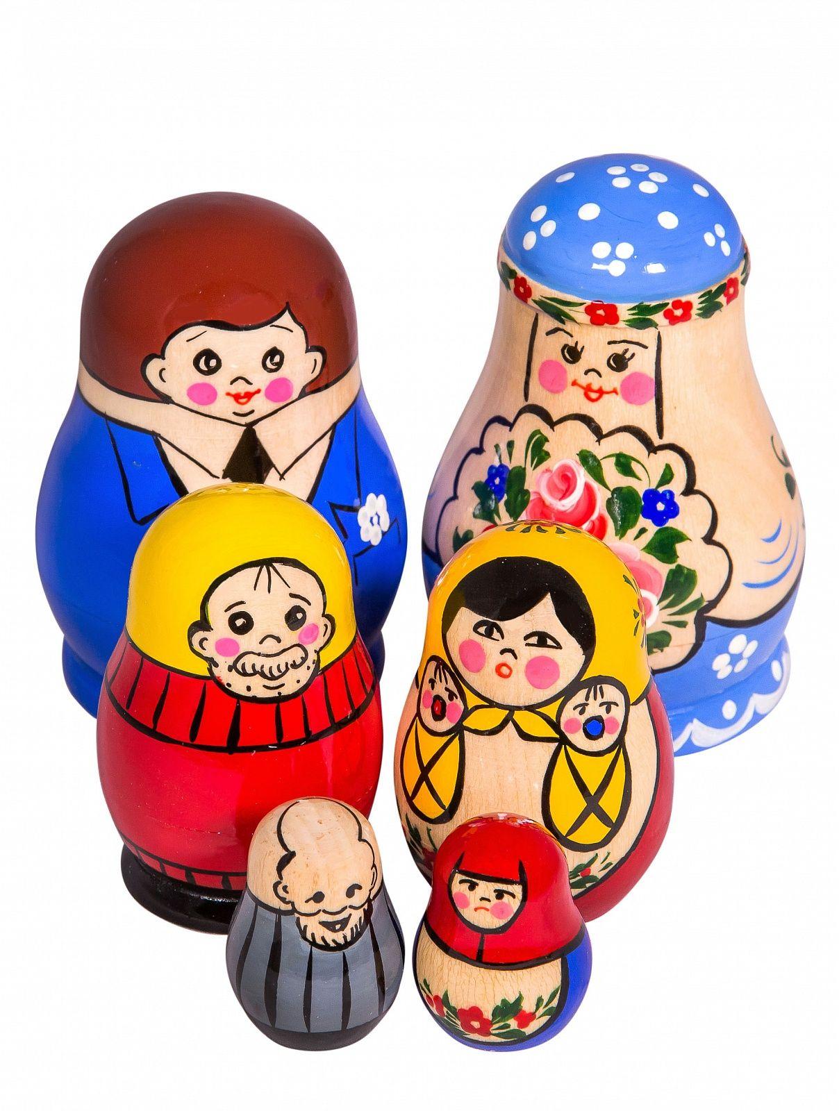 """Khokhloma painting / Matryoshka set """"Family happiness"""" 6 dolls"""