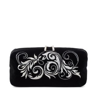 """Velvet Cosmetic Bag """"Falling Leaves"""" black with silver embroidery"""