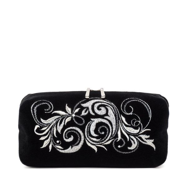 Velvet Cosmetic Bag 'Falling Leaves' black with silver embroidery
