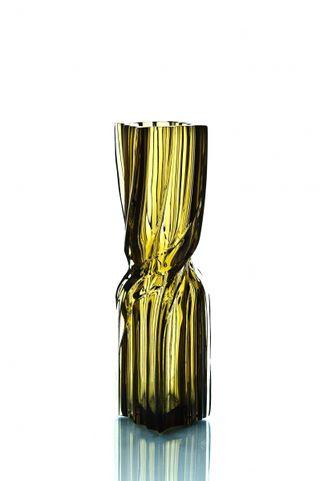 "Crystal decorative vase ""Architecton"" narrow marsh"