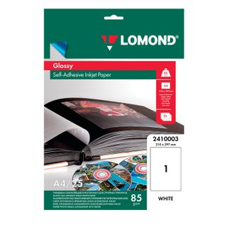 Photo paper inkjet self-ADHESIVE, A4, 85 g/m2, 25 sheets, glossy LOMOND