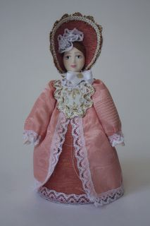 Doll gift porcelain. The young lady in walking costume. 2nd quarter of the 19th century. Russia.