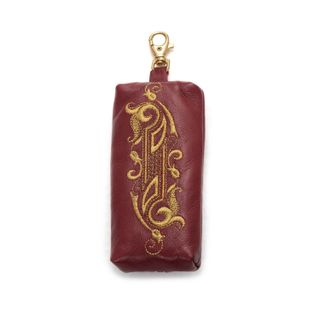 Leather housekeeper Duet Burgundy with gold embroidery