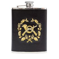Flask with hand embroidery 'it's Time to hunt' black with gold embroidery