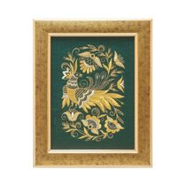 Mural 'Summer garden' green with gold embroidery