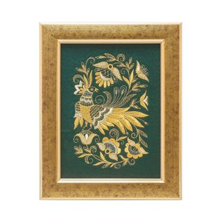 "Mural ""Summer garden"" green with gold embroidery"