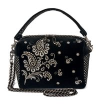 Velvet bag 'Adele' black with silver embroidery