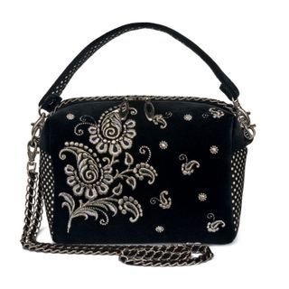 """Velvet bag """"Adele"""" black with silver embroidery"""