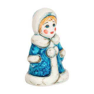 Sculpture maiden underglaze colored paint, Gzhel Porcelain factory