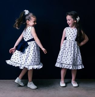 Dress for girls in white dark blue heart