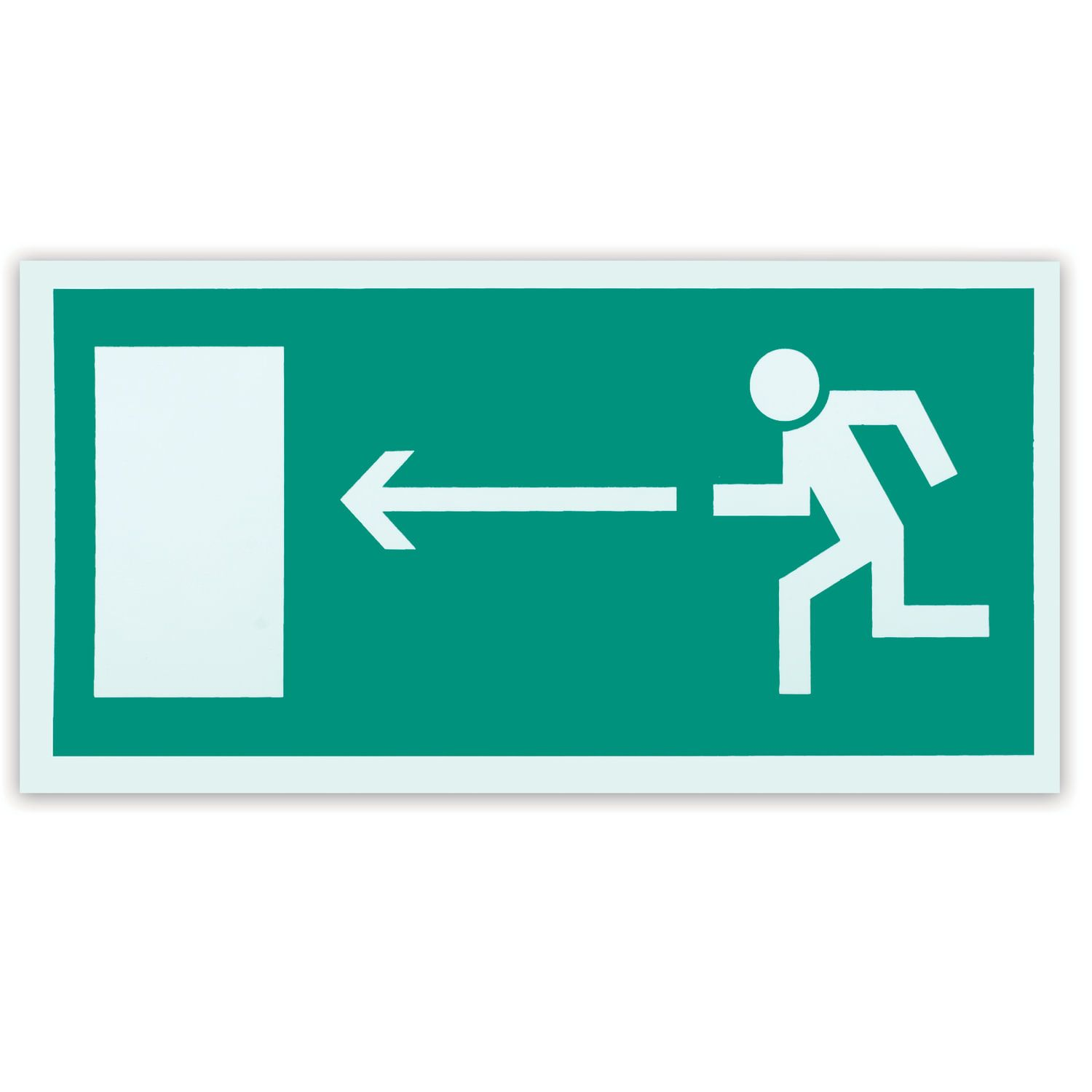 """Evacuation sign """"Direction to the evacuation exit to the left"""", 300x150 mm, self-adhesive, photoluminescent"""