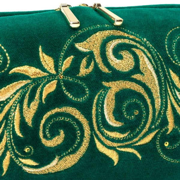 Velvet cosmetic bag 'falling leaves' green with gold embroidery