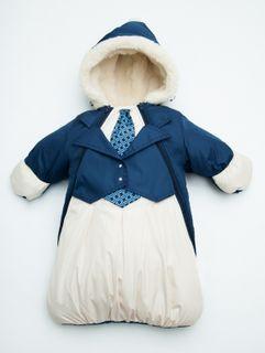 Winter envelope for the newborn boy John, size / height - 22 / 68-74 cm