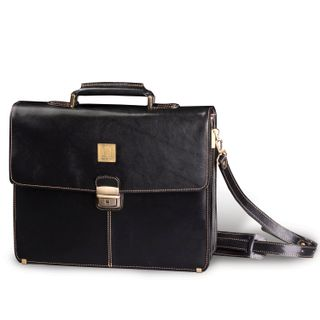 Briefcase made of genuine leather, 39х30х10 cm, 2 compartments, key lock, black