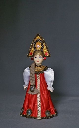 Doll gift porcelain. Kostroma lips. Russia. Girl in traditional costume. 18-19 century.