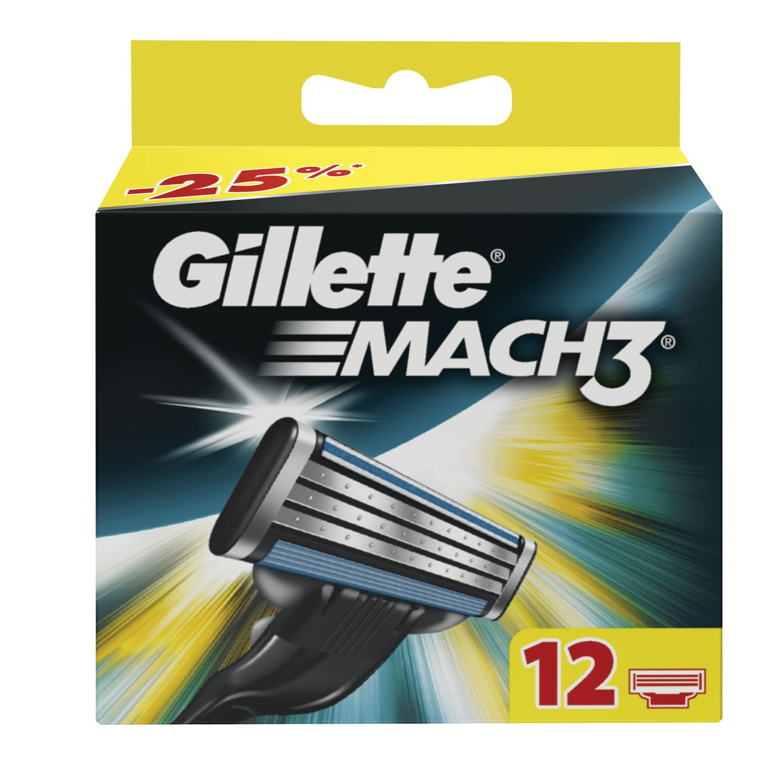 """Replacement shaving cassettes 12 pcs. GILLETTE """"Mach3"""", for men"""