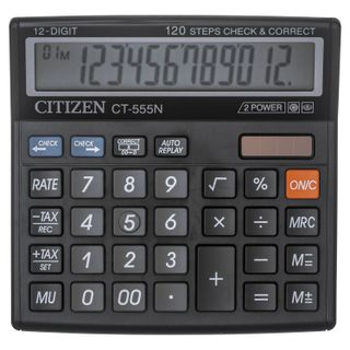 Desktop calculator CITIZEN CT-555N, SMALL (130x129 mm), 12 digits, dual power