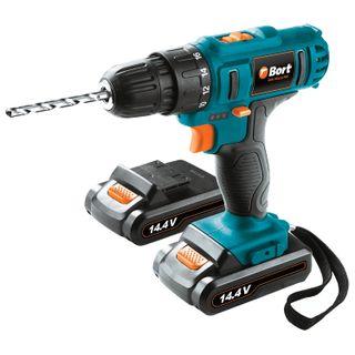 Drill screwdriver battery, 14.4 B, Li-Ion, 1350 rpm, 2 batteries, BORT BAB-14Ux2Li-FDK