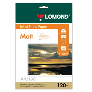 Photo paper for inkjet print, A4, 120 g/m2, 100 sheets, one-sided matte, LOMOND