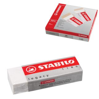 The large STABILO eraser, 62х22х11 mm, white, rectangular, PVC