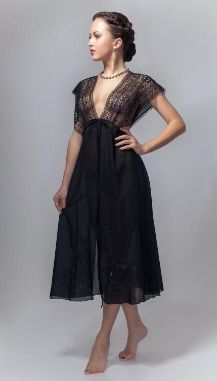 Negligee, Black Swan embroidered