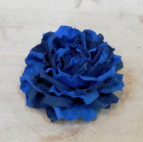 Hair clip brooch rose blue tones milotto