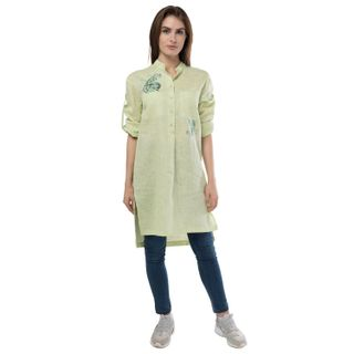 "Women's blouse ""deion"" green with silk embroidery"
