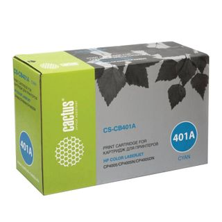 Toner cartridge CACTUS (CS-CB401A) for HP ColorLaserJet CP4005, cyan, yield 7500 pages.