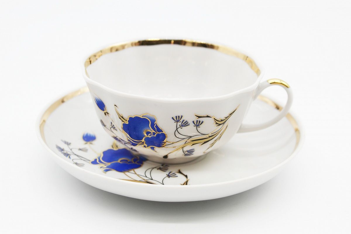 Dulevo porcelain / Set of tea cup with saucer, 12 pcs., 220 ml Tulip Poppies