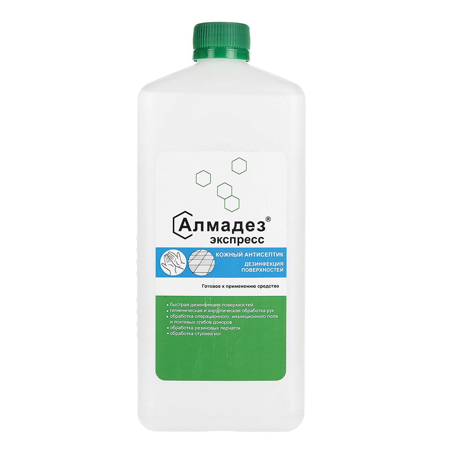 ALMADEZ / Alcohol-containing skin disinfectant antiseptic (63%) EXPRESS, ready-made solution, 1 l, lid