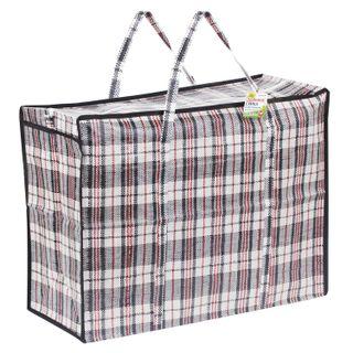 Household bag-trunk, polypropylene, 60x45x25 cm, 68 liters, black and red, 150 g / m2, LYUBASHA