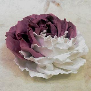 Hair clip brooch rose violet-white milotto