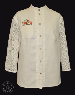 Shirt womens linen embroidered С11797