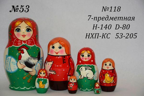 Vyatka souvenir / 7-piece matryoshka № 118