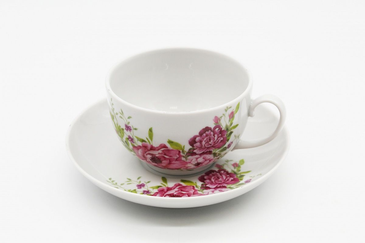 Dulevo porcelain / Tea cup and saucer set, 12 pcs., 210 ml Amber Olivia